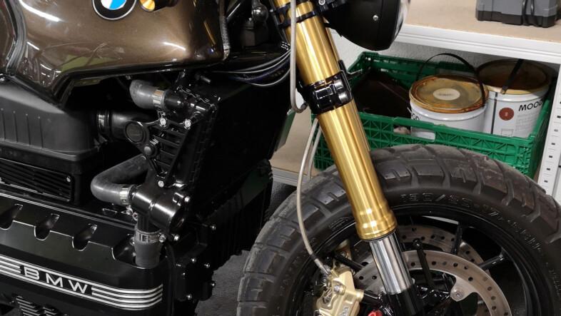 BMW K100 BMW S1000RR Gabel umbauen Stahlflex Bremsleitungen Motorrad