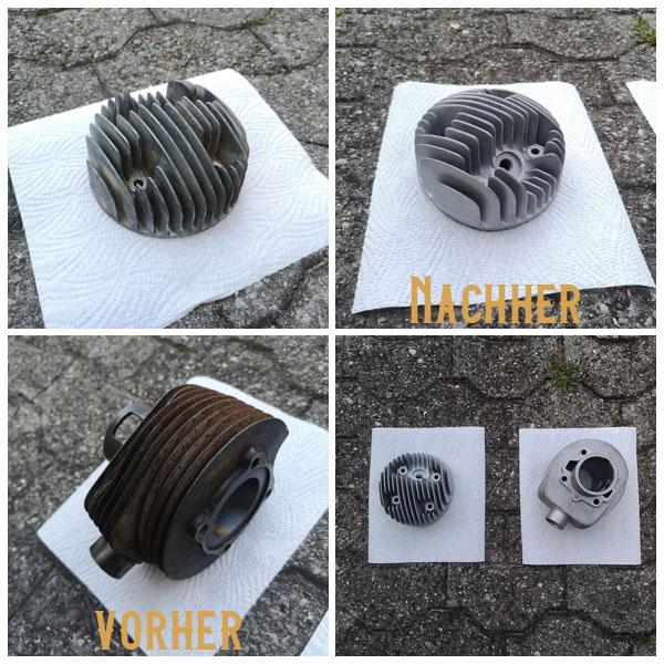 VESPA Zylinderkopf und Zylinder sandstrahlen glasperlenstrahlen nussstrahlen