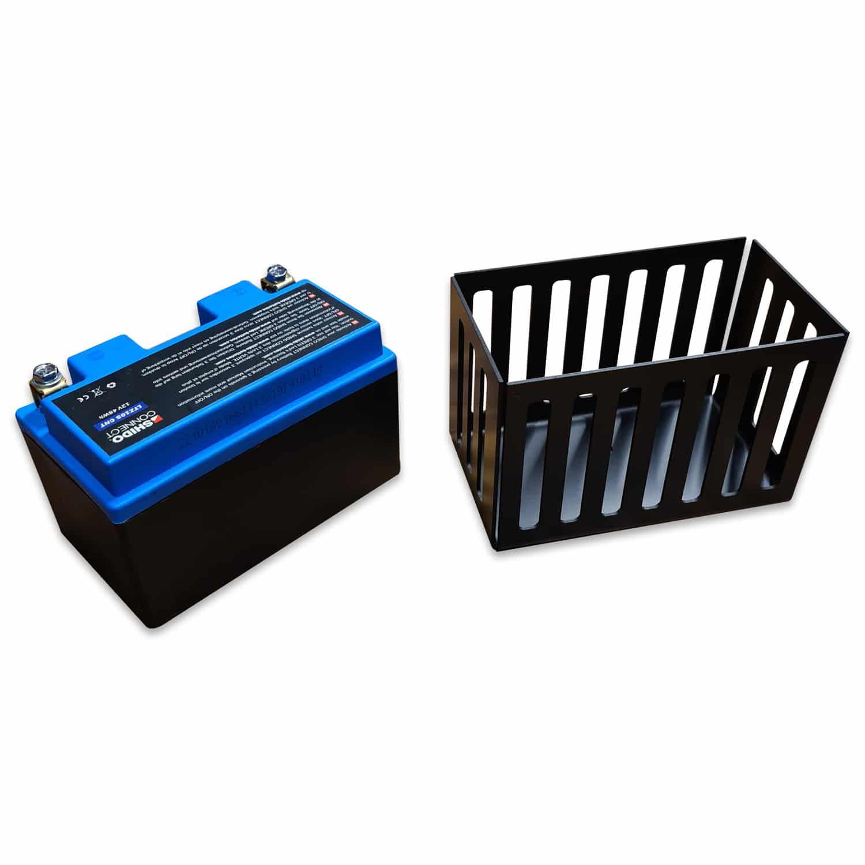 Lithiumbatterie mit Batteriehalter Aluminium schwarz eloxiert und Ledertasche für Batterie BMW Boxer R45-R100